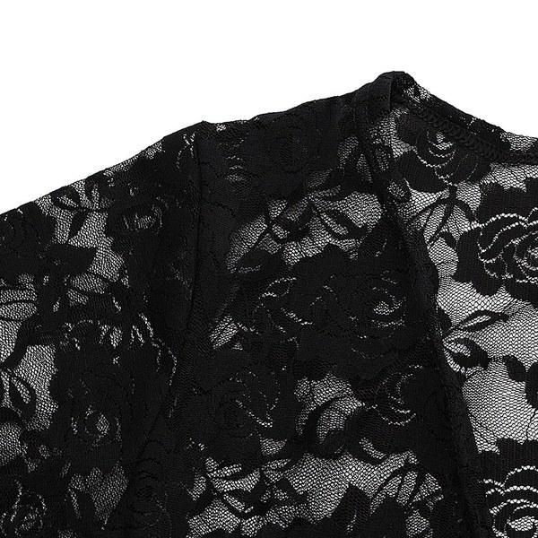 2017ファッションレディースレース編み3/4袖着物トップコートジャケットカーディガン岬