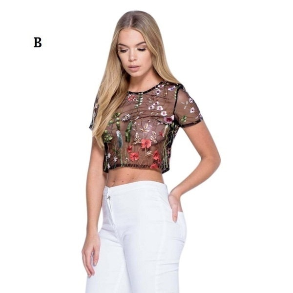 ファッション女性の刺繍の花は、Tシャツを介して見るセクシーな黒メッシュトップスティー
