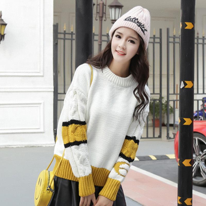 レディース 女性 トップス ニット オーバー プルオーバー Uネック セーター カットソー ゆったり  大きいサイズ  4カラー フリーサイズ シャーベットカラー 原宿風 可愛い