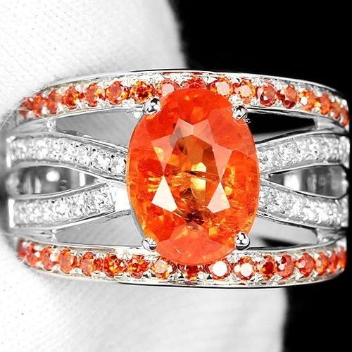 2.23 CTナチュラルディープオレンジサファイア925スターリングシルバー結婚指輪ギフトサイズ6-10