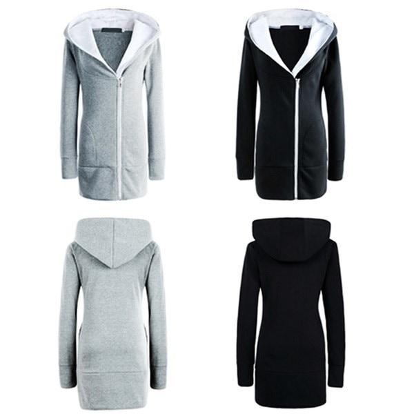 新しい秋と冬のパーソナライズされたジッパーフード付きの斜めの厚いコートセーターの女性のためのスペシャル