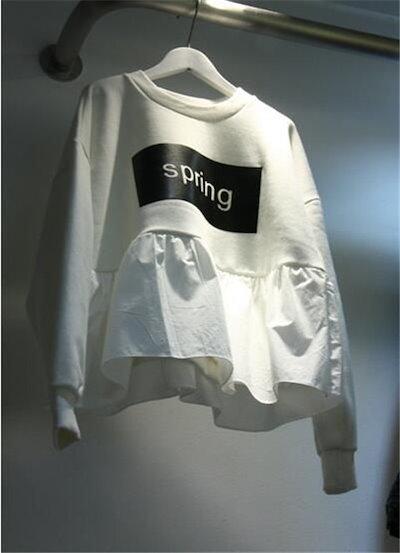 東大門ショッピング2016春新しいカジュアルな緩いTシャツの女性は長袖のセーターの印刷を底ステッチ
