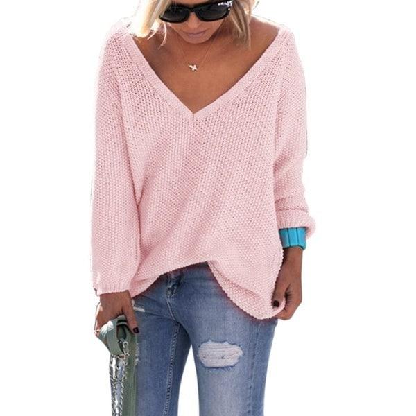 女性のファッション秋と冬長袖ルーズVネックソリッドカラーニットセーター