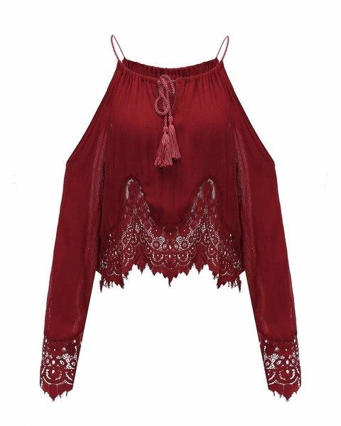 Plus Size Women Sexy Lace Straps Off-Shoulder T-Shirt Ladies Long Sleeve Crop Tops