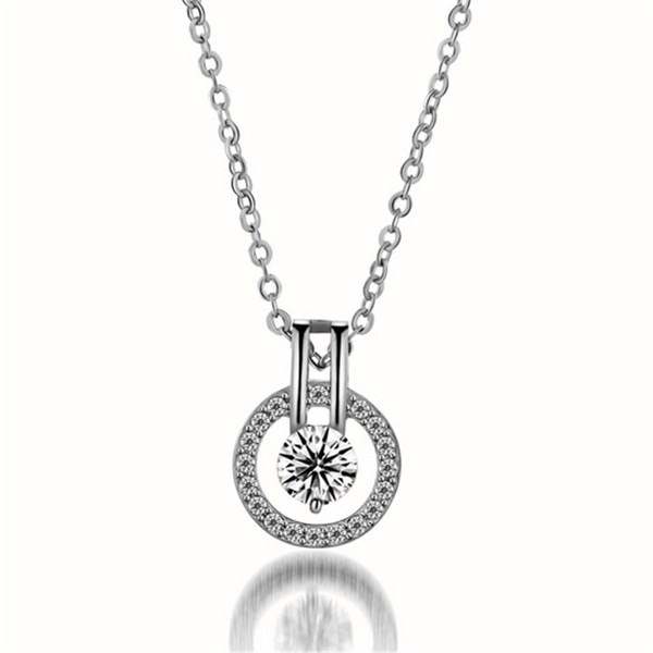 2016新しいファッションジュエリージルコンダイヤモンドチャームペンダントネックレスバレンタインデーのギフト