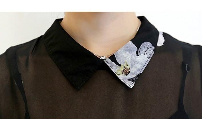 ワンピース ドレス 清楚 大人可愛い フレア 美スタイル 襟付 シャツワンピ キレイ シフォン ノースリーブ スカート ミニスカ オシャレ プリント 花柄 素敵 ブラック 黒 ホワイト 白 スケ感 デート お出かけ 韓流 大きいサイズ 流行 (63-93) ※納期に10日から14日ほどかかります。