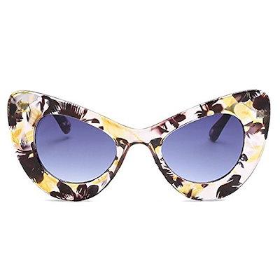 Laura Fairy Cat Eye FrameファッションデザイナーUV400レンズサングラス - ブラック(ブラック、グレー)