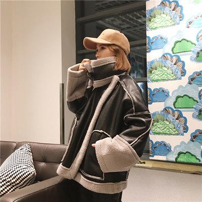 レザー/毛レザー/ルース/子羊ウール/スプライシング/女/秋冬/新しいデザイン/韓国風/何でも似合う/原動力/服/革の服/アウターウェア/手厚い