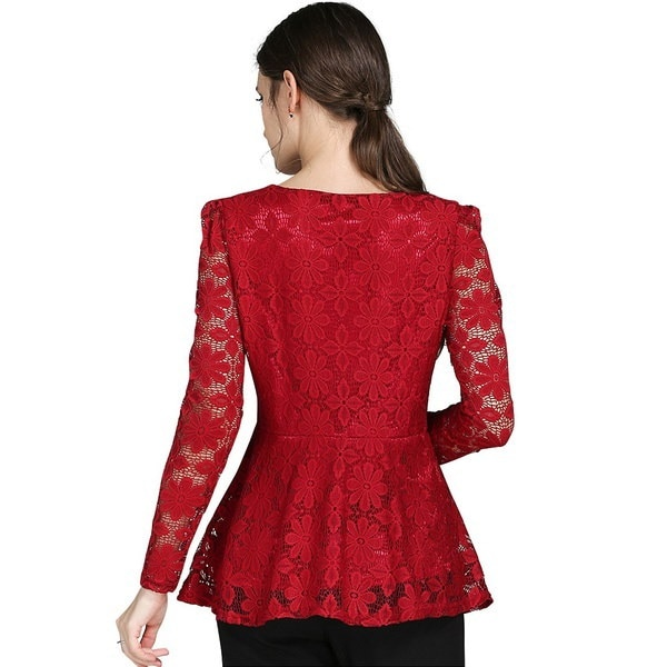 Women Sexy Lace Plus Size Long Sleeve Tops
