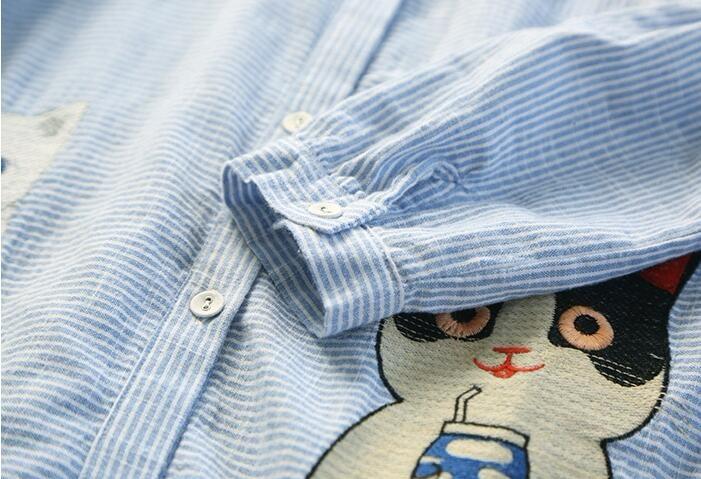 B-278-1【送料無料】 レディース 森ガール 流行なシャツ ロング ブラウス・★お洒落で素敵 刺繍長袖シャツ/ブラウス/スリム//レディースファッションシャツ