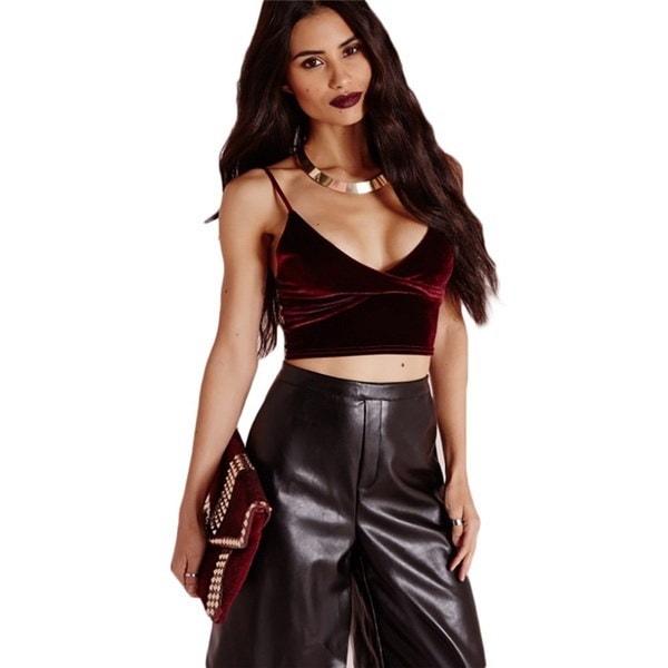 新しいエレガントな女性のベルベットVネックジャンパーセクシーなノースリーブショートスタイルのパーティータンクトップヴィンテージ作物のトップス