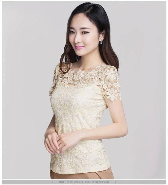 プラスサイズS  -  5XL新しい夏のファッションエレガントな女性のレースブラウス半袖スリムセクシーなtシャツ女性Sh