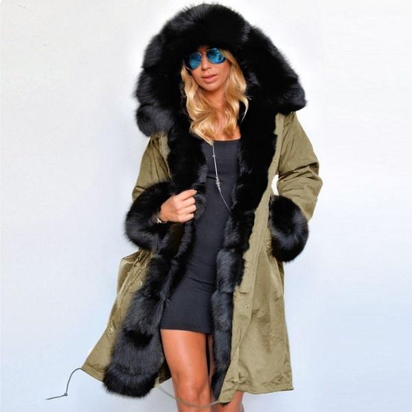 クラシック冬の新しい女性ファッション偽ファーロングコート高品質の豪華な女性の暖かい綿の服