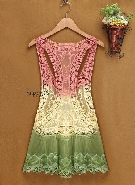 スタイリッシュな新しいファッション女性の女性グラデーションレースかぎ針編み中空ビキニカバータンクトップブラウスKnitwe