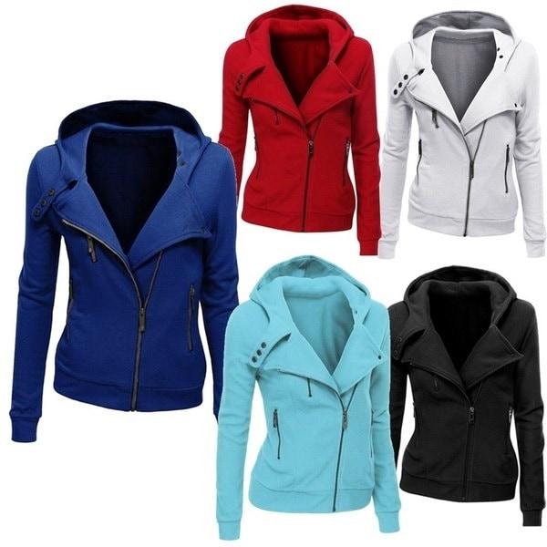 CONES Ladies Hooded Jacket Long Sleeve Women Hoodies Sweatshirts Zipper Blazer  Fashion Jacket