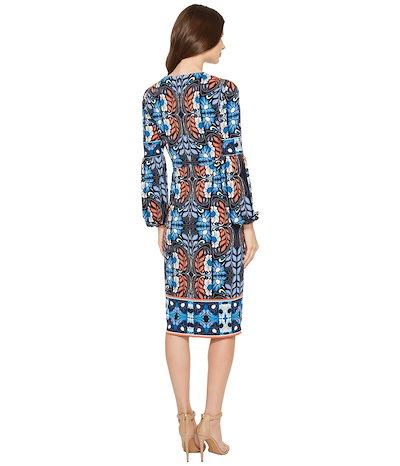 マギーロンドン レディース ワンピース トップス Folk Print Jersey Midi Sheath Dress