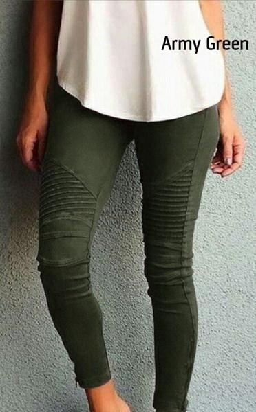 女性のカジュアルスリム高弾性ペンシルロングパンツレギンスブルーグリーンブラック