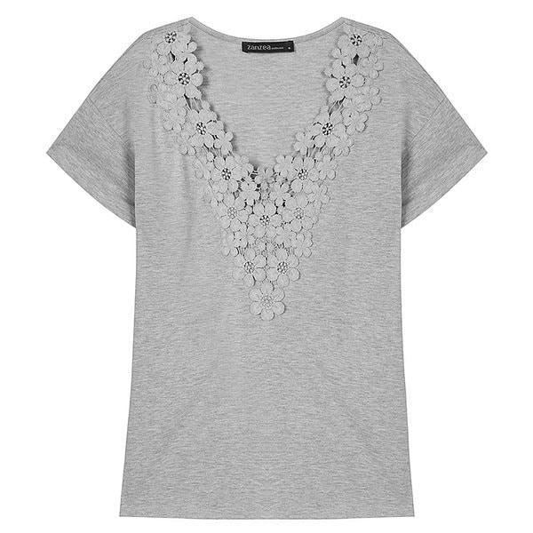 S-5XL Damen Deep VネックSpitzeかぎ針編みコットンソリッドトップスシャツプラスサイズ