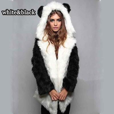 Women Casual Warm Fur Coat Female Fox Ears Hooded Women Faux Fur Coat Bear Panda Jacket Long Sleeve