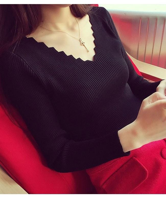 レディースファッション 女性 トップス プルオーバー ニット素材 セーター Vネック インナー カットソー ラッフル襟 無地 ホワイト グレー ブラック ベージュ 細身 ショート