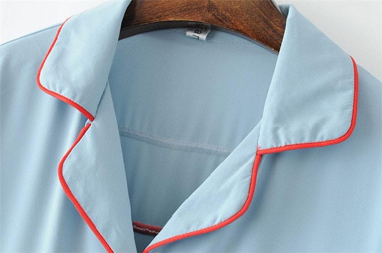 欧米風 バック刺繡 お洒落  レディース 長袖シャツトップス  パジャマスタイル トップス ワイド幅袖  きれいめ 大人 エレガント