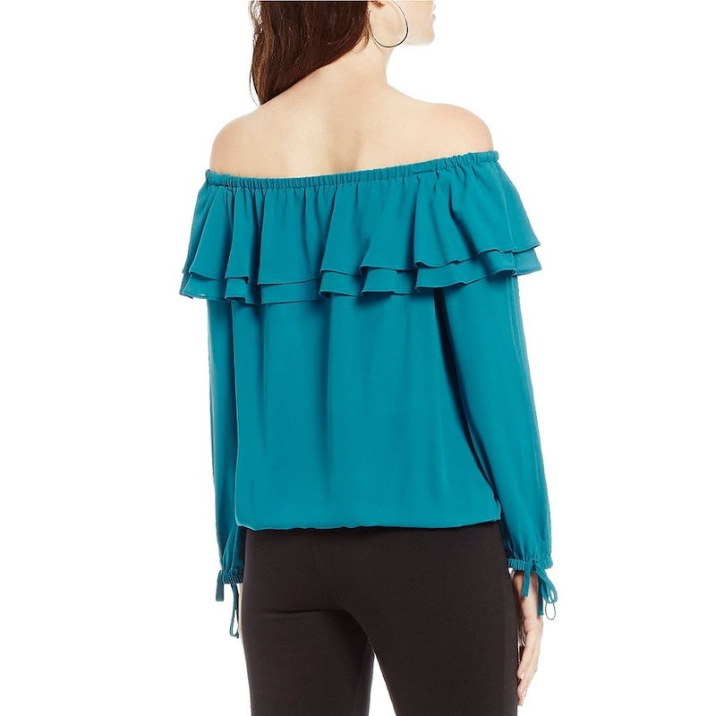 マイケル コース レディース トップス ブラウス・シャツ【MICHAEL Michael Kors Tiered Ruffle Off-The-Shoulder Liquid Crepe Peasan