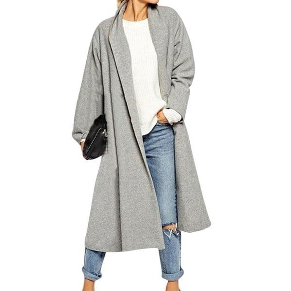 ファッションレディースオープントレンチコートロングクロークジャケットオーバーコートウォーターフォールカーディガン