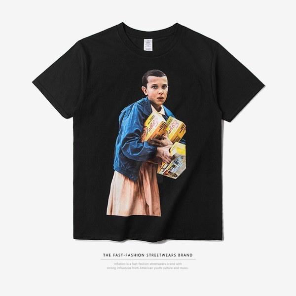 2017新しいファッショントップス見知らぬ人のキャラクタースチルカジュアル半袖ラウンドネックTシャツ