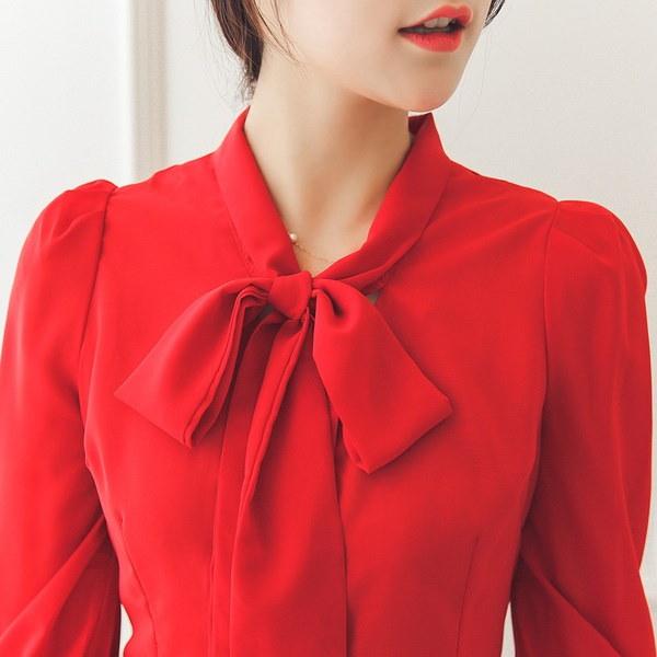女性のファッションロングスリーブピーターパンカラープリントルーズブラウス