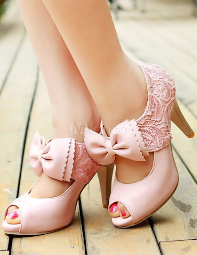 Pink Bows PU Peep Toe Shoes for Women