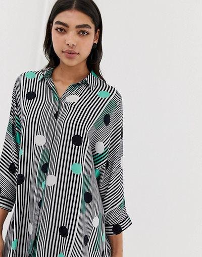 エイソス レディース シャツ トップス ASOS DESIGN oversized long sleeve shirt in spot and stripe print
