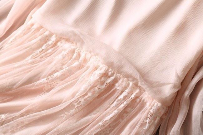 レース 大人 フェミニン ワンピース 長袖 シフォン ピンク ワンピ レディース【レース 大人 フェミニン ワンピース 長袖 シフォン ピンク ワンピ レディース ドレス パーティ セレブ 結婚式 女