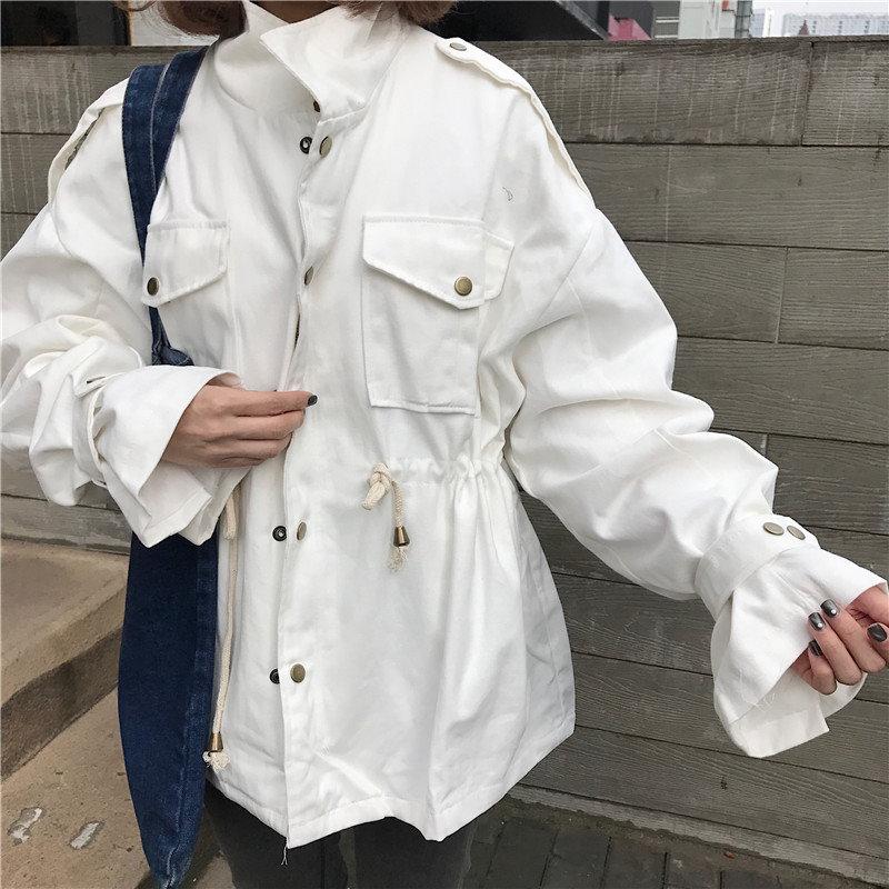 カジュアル ジャケット  ジャンパー 太袖 秋 カーキ 白 ゆったり(81-48) ※納期に10日から14日ほどかかります。