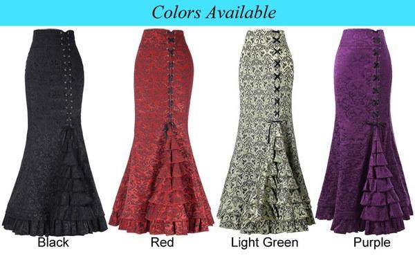 女性のヴィンテージレトロヴィクトリア様式ジャカードフィッシュテイルマーメイドマキシスカート