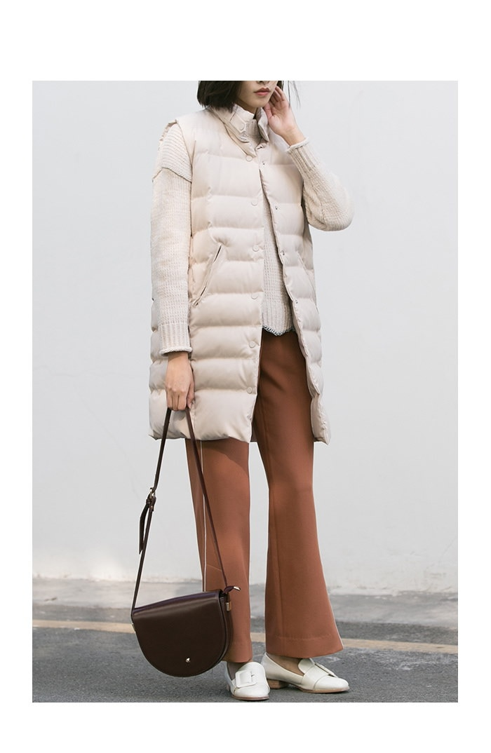 Standing collar bread clothing vest in a long coat jacket