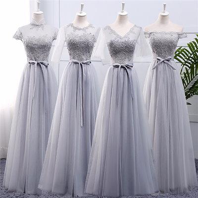 グレードレス ロングドレス スレンダーライン 4タイプ パーティードレス ワンピース ブライズメイド ロングドレス 結婚式 グレー ドレス フォーマル 二次会 パーティードレス da124g4