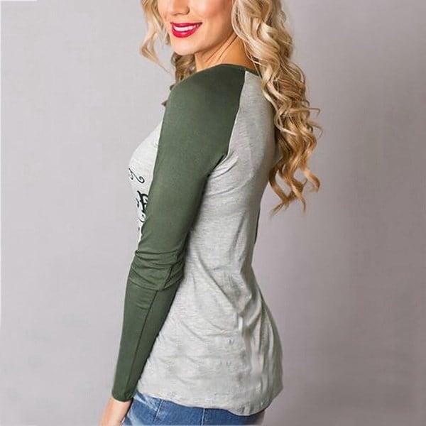 ファッション女性服メリークリスマスレター鹿プリントTシャツ女性ファッション長袖Casua