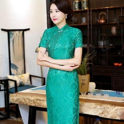 チャイナドレス 膝丈 チャイナドレス コスプレ チャイナドレス 半袖 チャイナドレス 大きいサイズ ストレッチ レース バラ色 高級