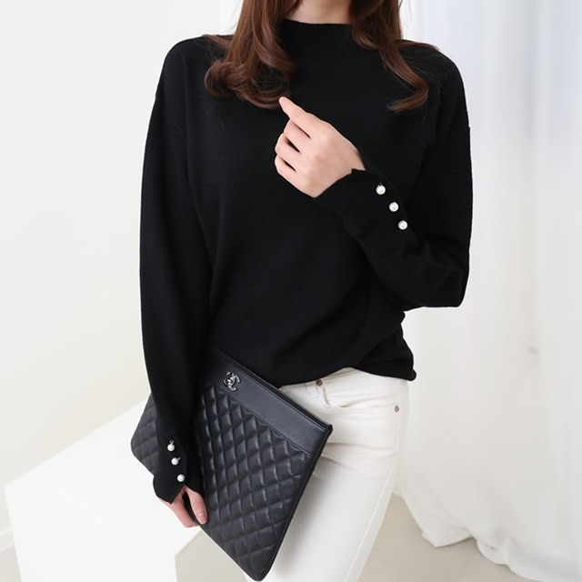 [Deming] pearl sleeve puff knit four-color