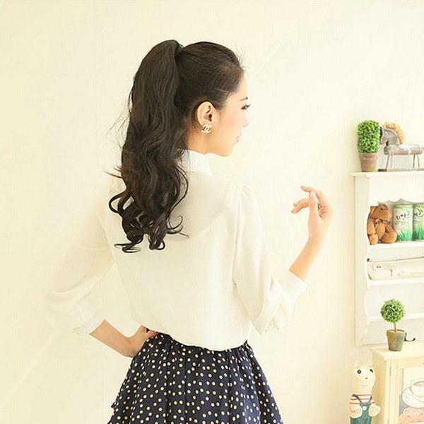 ファッション女性エレガントな蝶ネクタイ白いブラウス長袖シフォンピーターパンカラーカジュアルシャツレディース