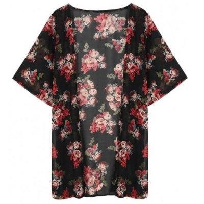 女性の夏スタイルの花プリントシフォン着物カーディガンバットウィングスリーブビーチカバーアップ