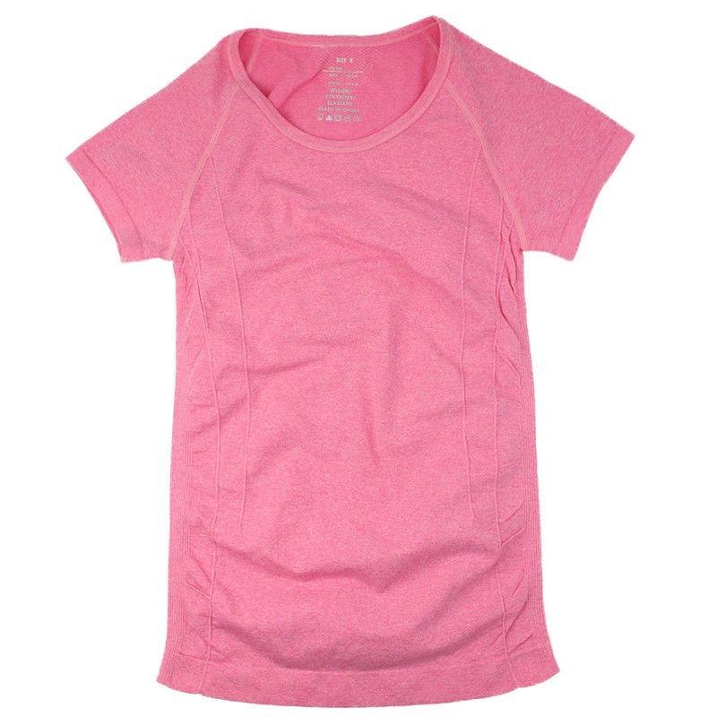 女性リネンカラースポーツTシャツフィットネスランニングジムショートスリーブカジュアルシャツ