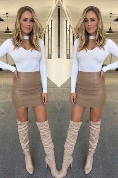 ヴォーグ女性セクシーなバンドジ革のスカートハイウエストペンシルボディコンショートミニスカート