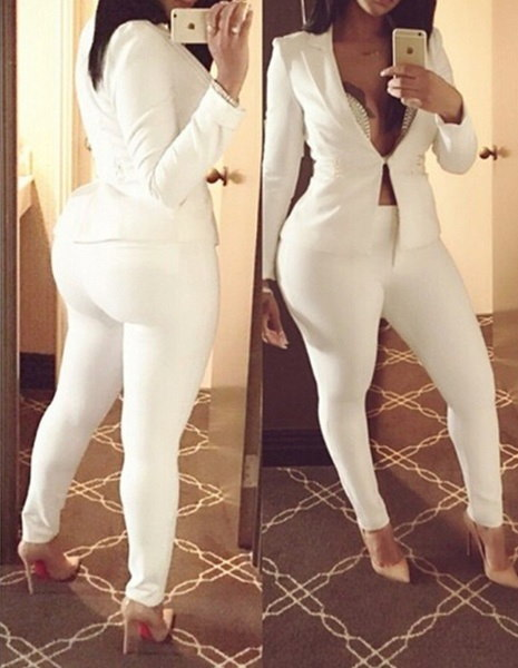 秋2つの白いスリムなブレザースーツレディースオフィス着用スーツ女性ビジネススーツフォーマルオフィス