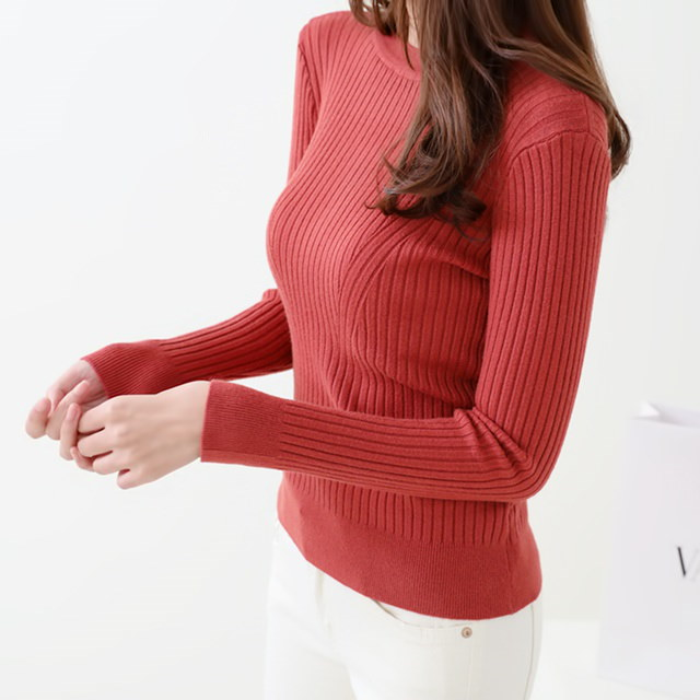 [Dimming] Moist gold knit 4 color round neck knit autumn knit slim fit knit