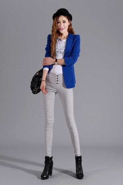 Spring and Summer Ladies Cotton Fashion Plus Size Women Pants High Waist Elastic Trousers Pencil Pan