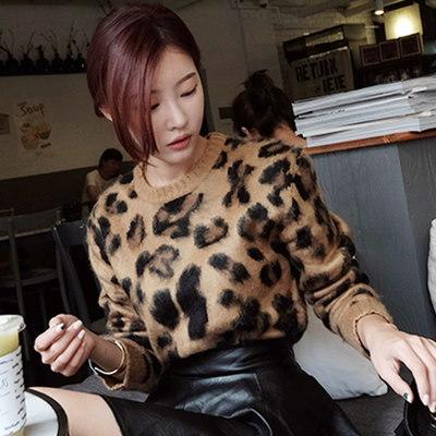 【秋冬新作先取り】 レディスファッション ニットセーター セーター    秋ファッション  ヒョウ柄 クラスチック  大人 長袖セーター