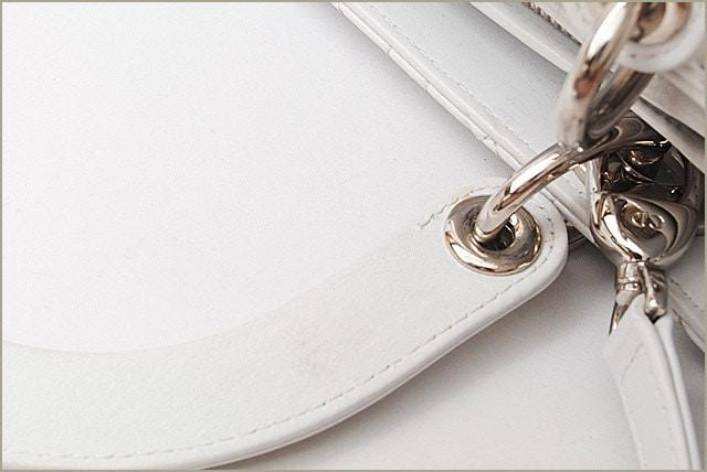 クリスチャン ディオール ハンドバッグ/ショルダーバッグ Christian Dior レディディオール カナージュ ホワイト CAL44560【中古】