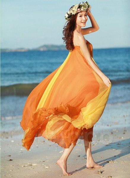 女性のコージーシフォンスカートBoho弾性ウエストフルロングストライプビーチドレス2ウェイカラフルなストライプS