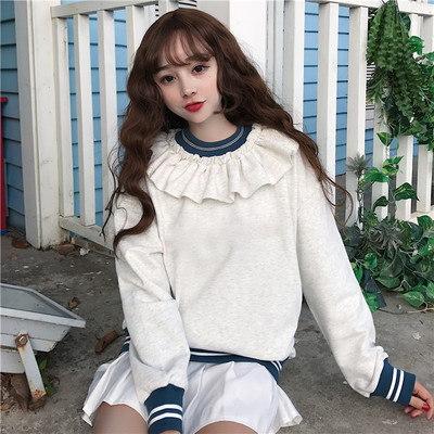 [55555SHOP]裏/小/秋冬/女性服/韓国風/若いもの/レースの襟/+/ルース/裏起毛/手厚い/セーター/アウターウェア